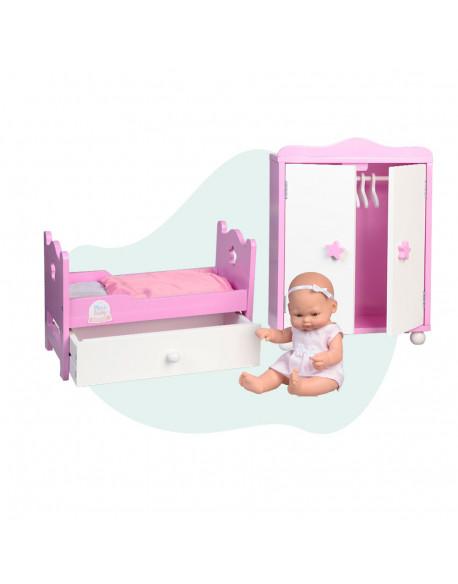 Cama madera con cajón y armario con muñeco 28 cm